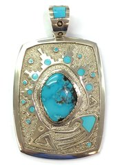 Navajo Turquoise Silver Pendant By Mike Perry