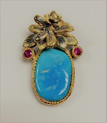 14K Yellow Gold Turquoise Ruby Pendent
