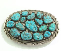 Large Old Pawn Belt Buckle with Kingman Turquoise
