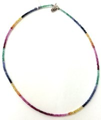 Multicolored one strand Sapphire Bead Necklace.