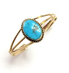 14K Gold Navajo Cuff Bracelet With Turquoise .