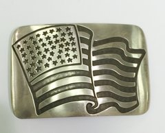 Hopi Silver Buckle Overlay with The American Flag
