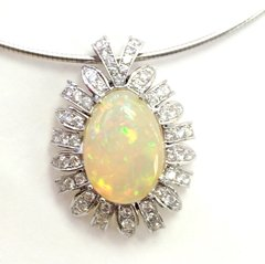 14K White Gold Pendant With Diamonds and Ethiopian Opal.