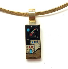 14K-Gold Pendant Pueblo Multi Color Inlay.