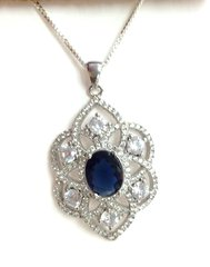 Silver Necklace Synthetic Stone and CZ