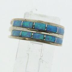 Blue lab Opal Silver Ring