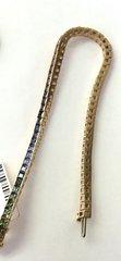 14K Gold Link Bracelet Multicolored Sapphire.