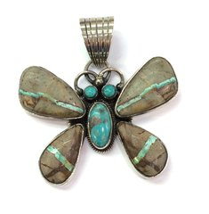 Butterfly Boulder Turquoise Pendant