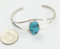 Navajo Silver Bracelet with one Turquoise Stone.