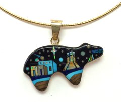 14K-Gold Bear Pendant Multi Color Inlay.