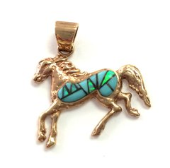 14K Gold Turquoise And Lab Opal Horse Pendant