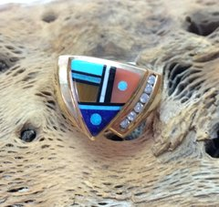 14K Gold Ring Multi Color With Diamonds .