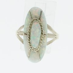 White Oval Lap Opal Ring