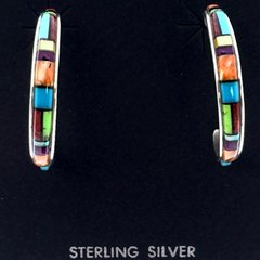 Nice Inlayed multicolored Silver Earring