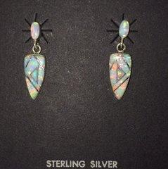 Lab White Opal Earrings