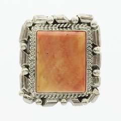 Spiny Oyster Square Silver Ring