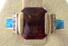 14K Gold Ring Tourmoline and Diamonds