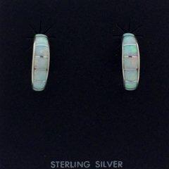 Lab Opal Hoop Earrings