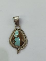 Boulder Turquoise Small Silver Pendant