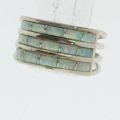 3 Rows of white lab Opal silver Ring