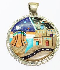 Large Beautiful Handmade Reversible Pendant with multi-color stones and Night Vision scene setting