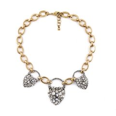 Heart Lock Crystal Stones Necklace