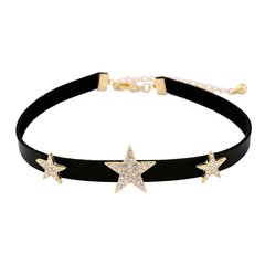 Rhinestones Leather Choker