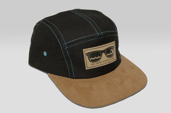 Black Suede Brim 5 Panel Hat