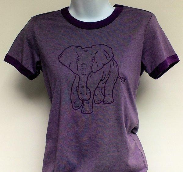 Women's Purple Ringer Elephant Tee