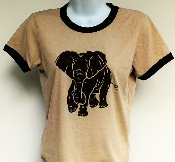 Women's Heather Tan Ringer Elephant Tee