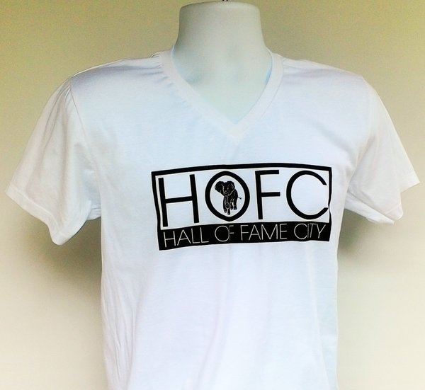 Men's white V-Neck Hall of Fame City Tee