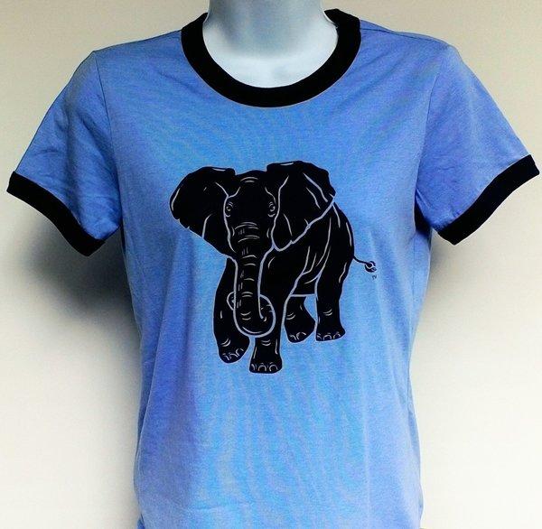 Women's Heather Blue Ringer Elephant Tee