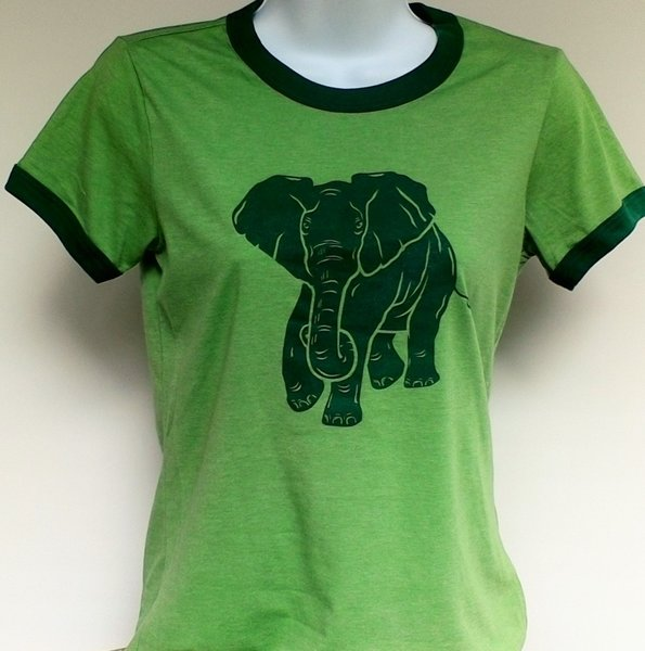 Women's Ringer Light Forest Green Heather Tee