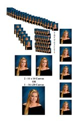 A Package - 5 Pose Deluxe 1-16x20 Canvas OR 2-11x14 Canvas, 5-8x10, 6-5x7, 20-4x5, 48- Wallets wth Name