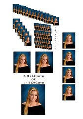 B Package - 3 Pose Deluxe 75 Portraits, 1-16x20 OR 2-11x14 Canvas, 4-8x10, 6-5x7,16-4x5,48 Wallets with Name