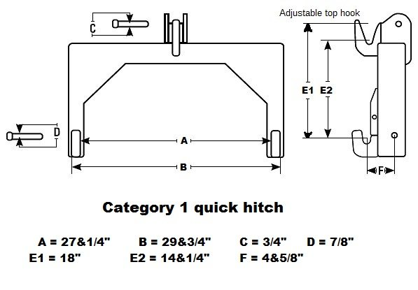 Cat 0 3 Point Hitch Dimensions : Point quick hitch for category tractor set of