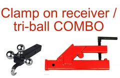 Clamp to bucket receiver mount with tri-ball / tow hook receiver COMBO, SAVE $50