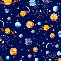 Starlight - Navy Planets with Metallic by First Blush Studio