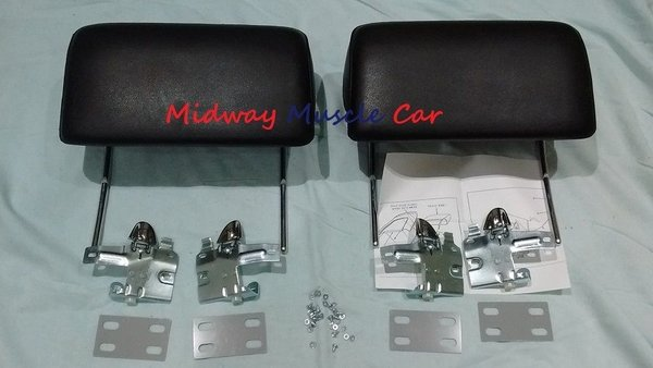 Black Headrest Kit 66 67 Chevy Pontiac Gto Chevelle