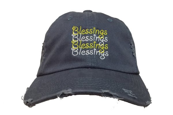 Blessings On Blessings Distressed Dad Hat - Scotland Blue