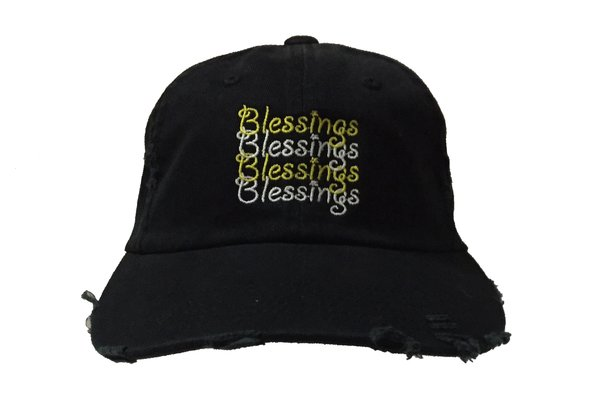 Blessings on Blessings Distressed Dad Hat - Black