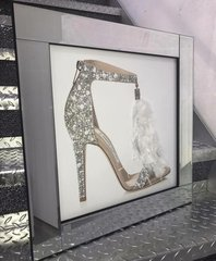 Stunning Jimmy Choo shoe with feather & glitter detail mirror picture