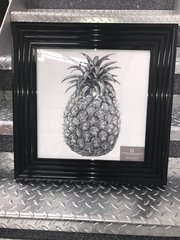 Sparkle wall art - Glitter Pineapple picture - black frame
