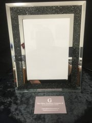 beautiful mirror and black sparkle photo frame 4 x 6 inch photo