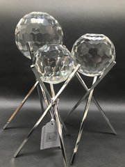beautiful cut glass crystal sphere on stand - size options