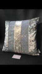 stunning AVA silver crushed velvet - silver disco glitter - scatter cushion cover