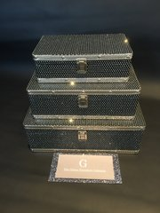 Beautiful Black set of 3 glitter cases jewellery box