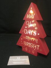 Beautiful wooden light up christmas tree - Red
