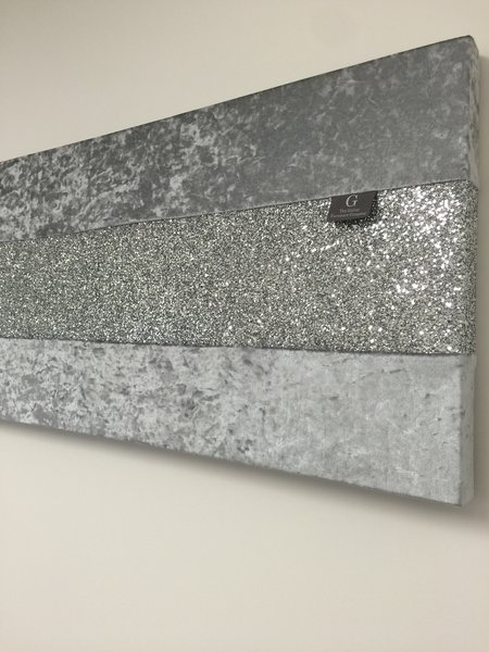 Stunning gunmetal grey with silver glitter large wallart ...