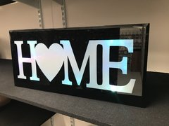 Damaged Black LED HOME colour changing home sign - clear marks on plaques